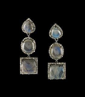 Pair of Silver, Labradorite and Diamond Earrings