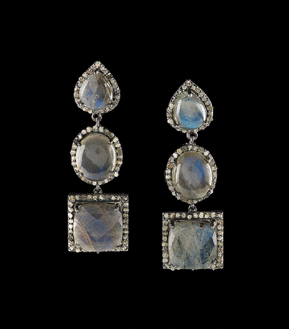 Pair of Silver, Labradorite and Diamond Earrings