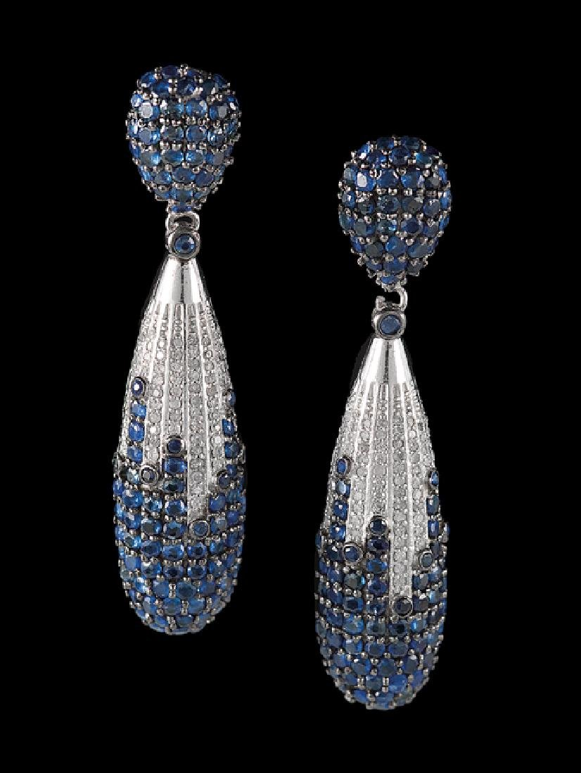 Pair of Silver, Sapphire and Diamond Earrings