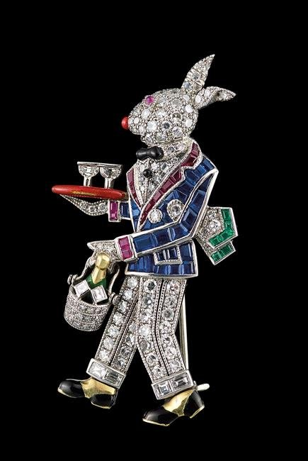 "Raymond C. Yard Platinum ""Rabbit Waiter"" Brooch"