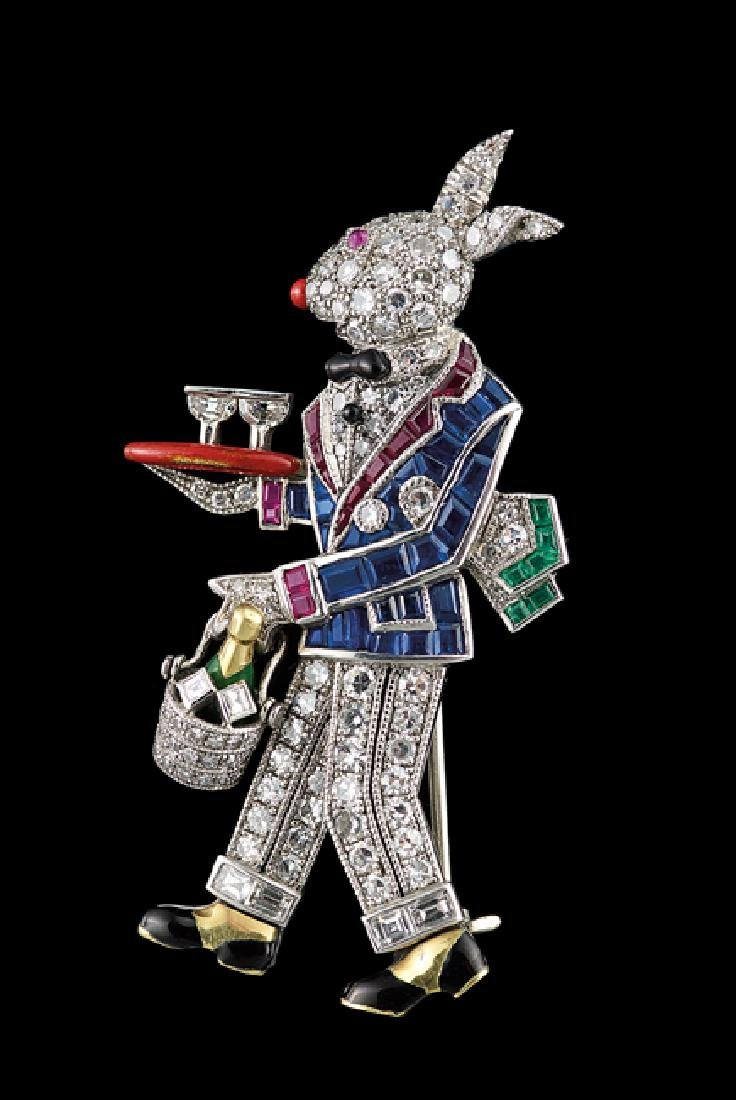 "Raymond C. Yard Platinum ""Rabbit Waiter"" Brooch"