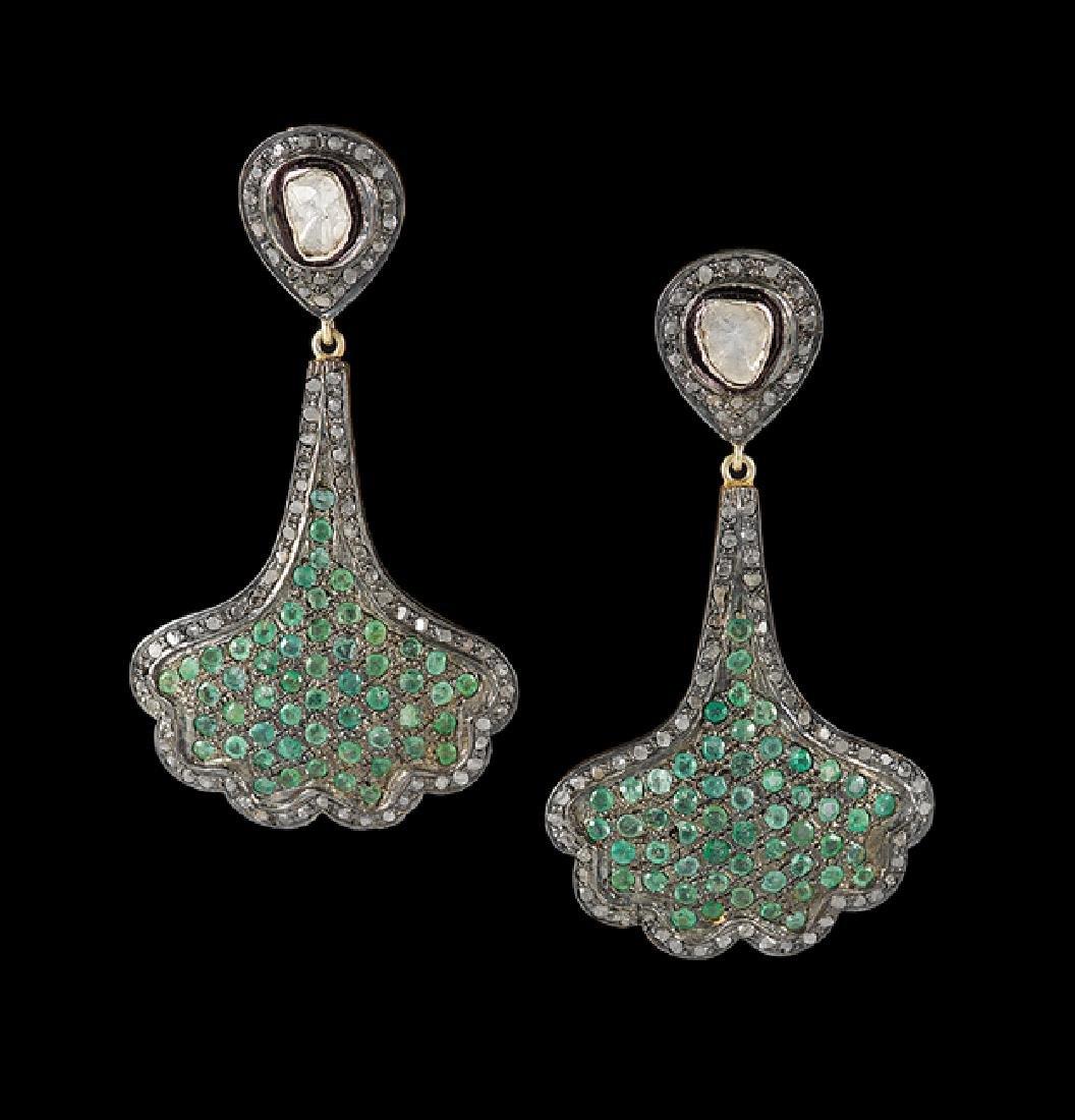 Pair of Vermeil, Emerald and Diamond Earrings