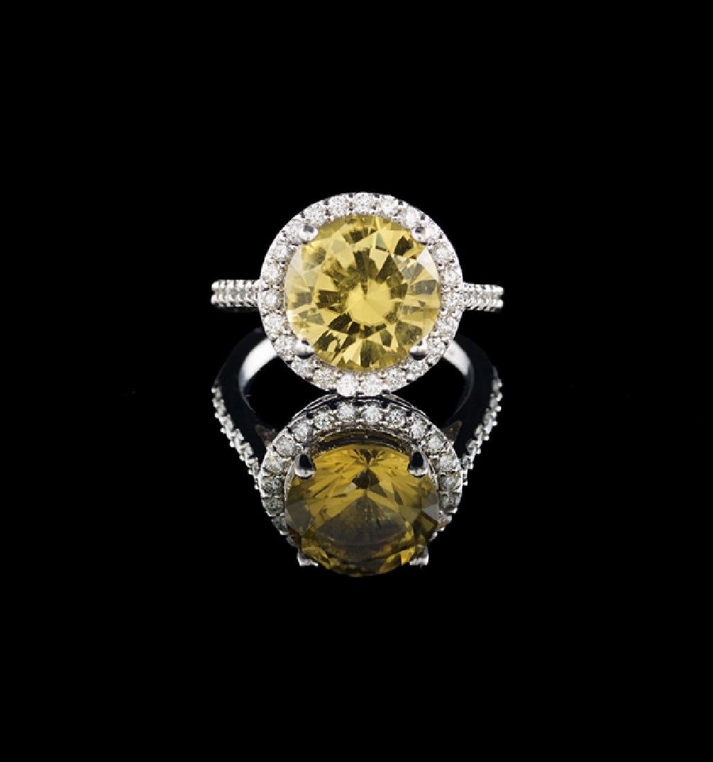 14 Kt. Gold, Yellow Tourmaline and Diamond Ring