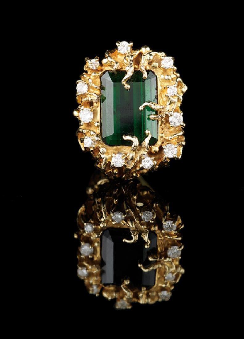 14 Kt. Gold, Tourmaline and Diamond Ring