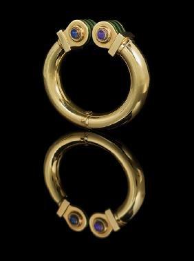18 Kt. Gold, Amethyst and Enamel Cuff Bracelet