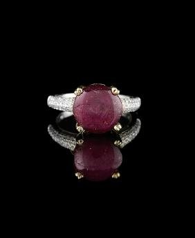 14 Kt. Gold, Star Ruby and Diamond Ring