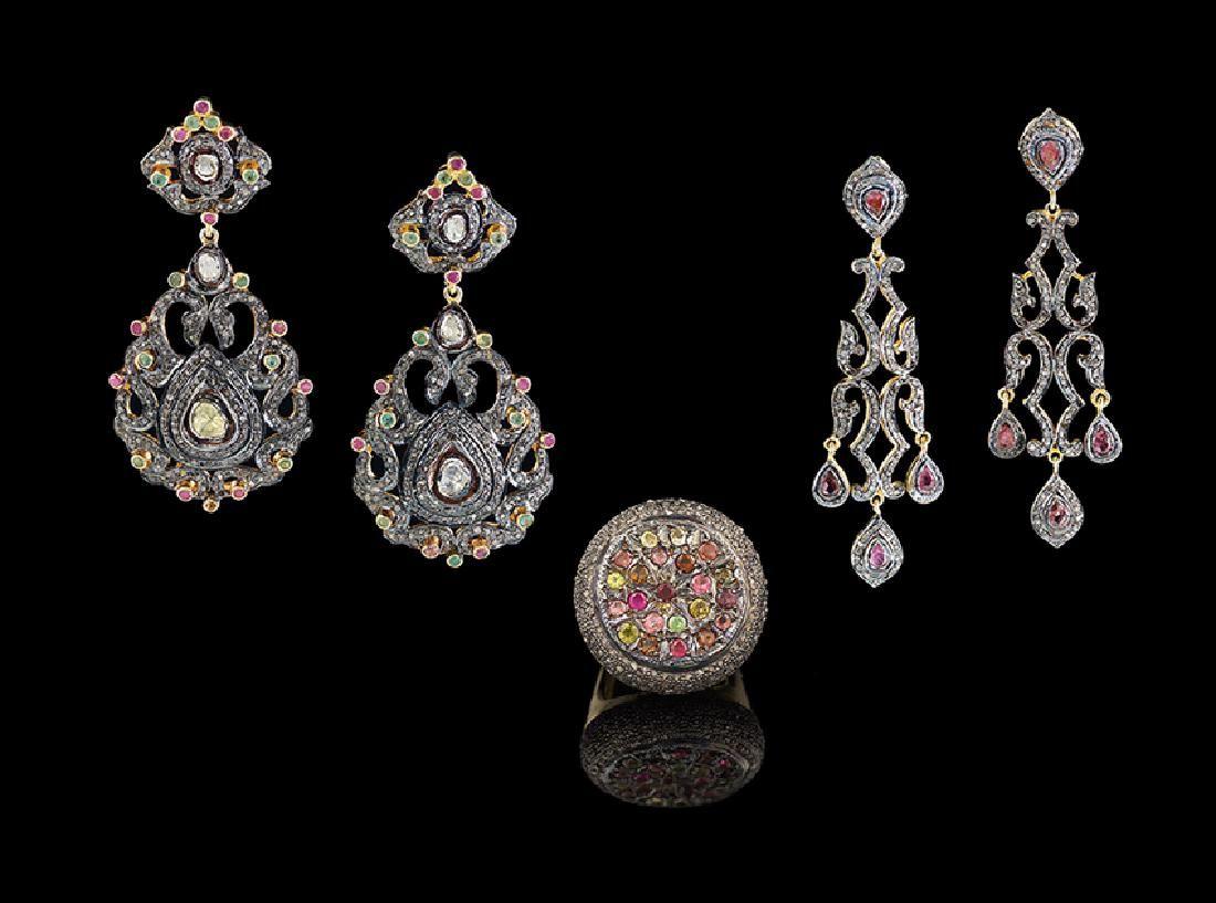 Three-Piece Vermeil and Tourmaline Jewelry Suite
