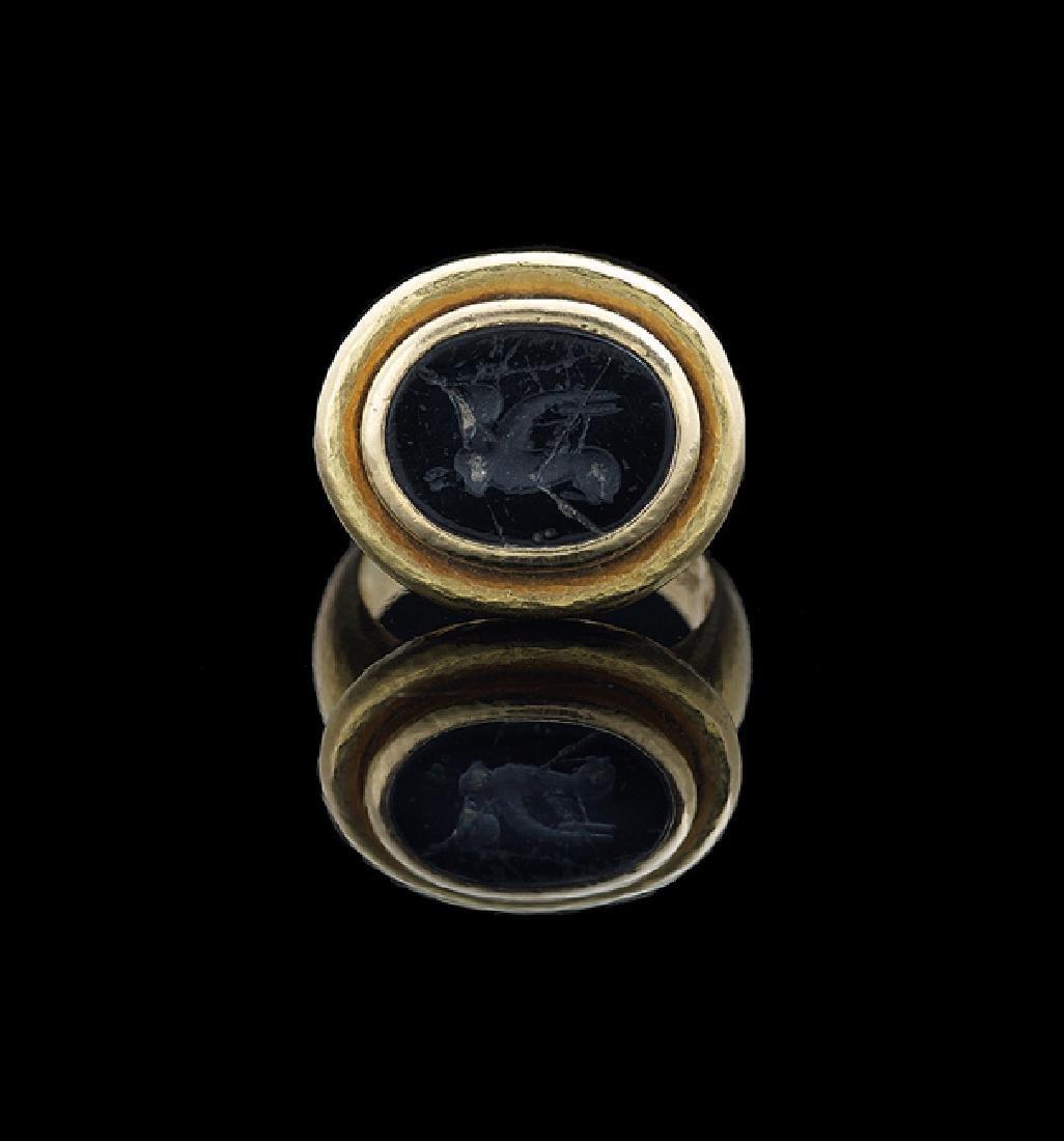 Elizabeth Locke 18 Kt. Gold & Onyx Intaglio Ring