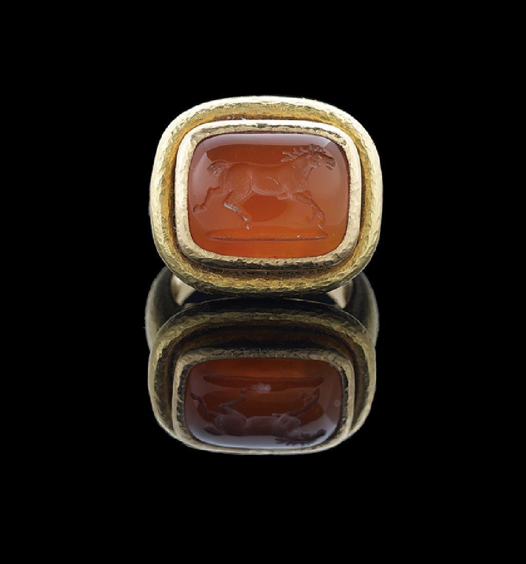 Elizabeth Locke Carnelian Intaglio Ring