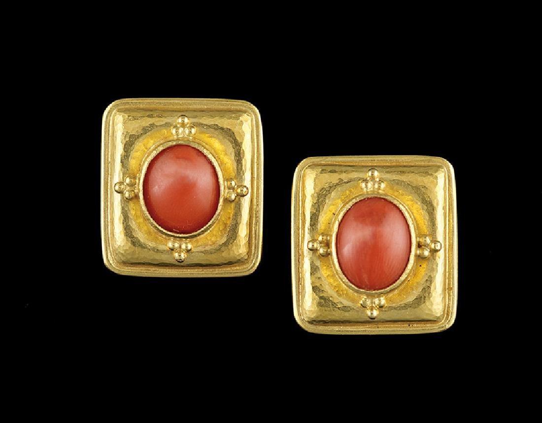 Pair of Elizabeth Locke 18 Kt. & Coral Earrings