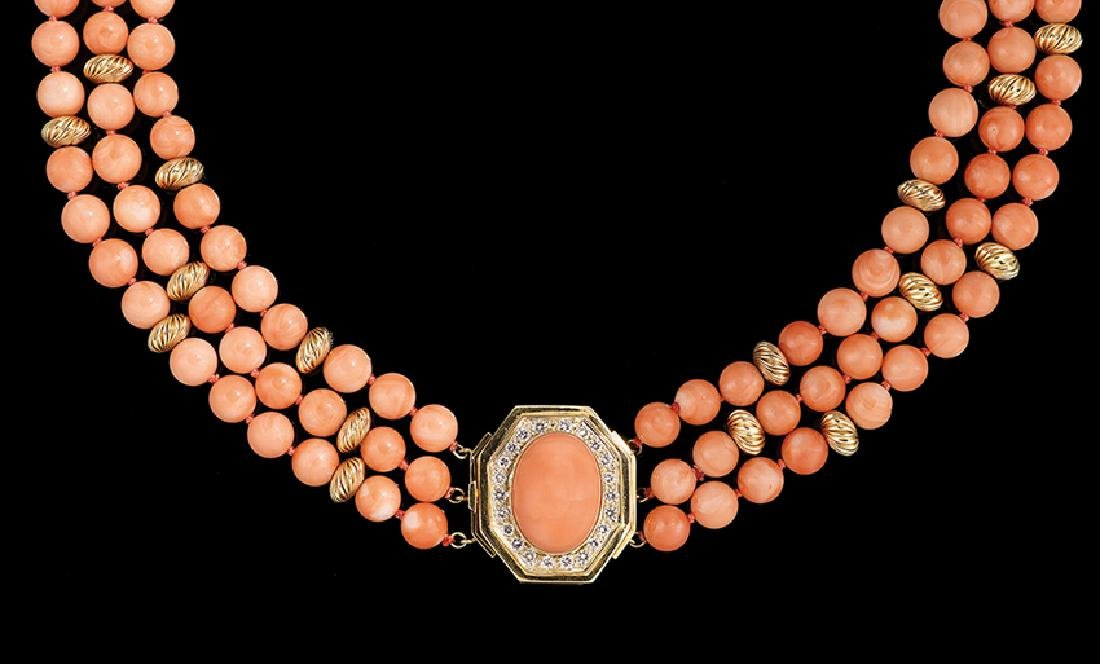 18 Kt. Gold, Coral and Diamond Necklace