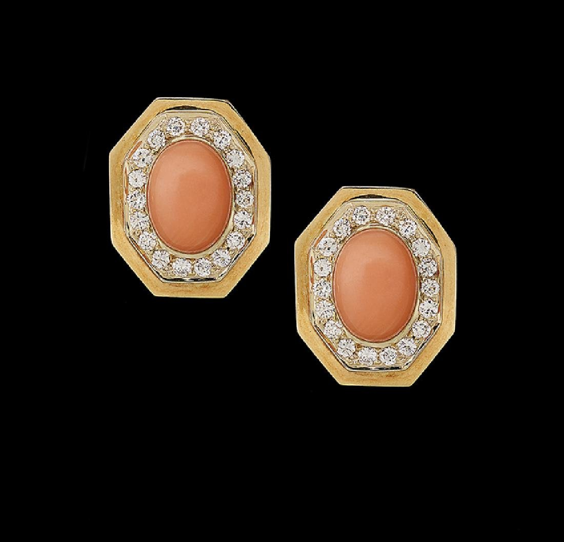 Pair of 18 Kt. Gold, Coral and Diamond Earrings