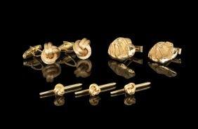 14 Kt. Knot Cufflinks, Studs & Nugget Cufflinks