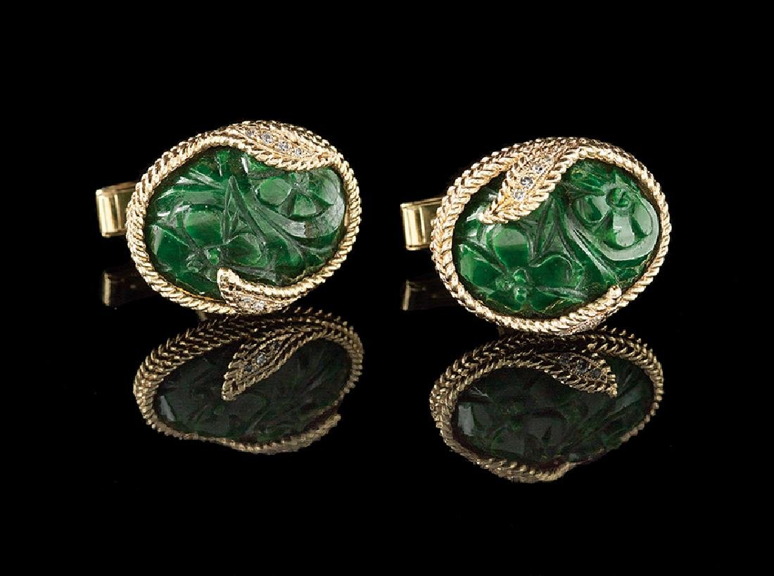 14 Kt. Gold, Diamond and Jade Cufflinks