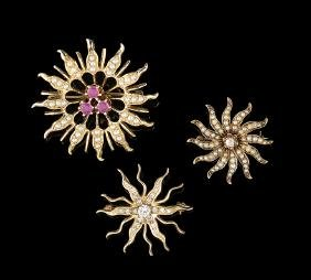 Three 14 Kt. Gold & Gemstone Sunburst Brooches