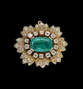 18 Kt. Gold, Emerald and Diamond Brooch/Pendant