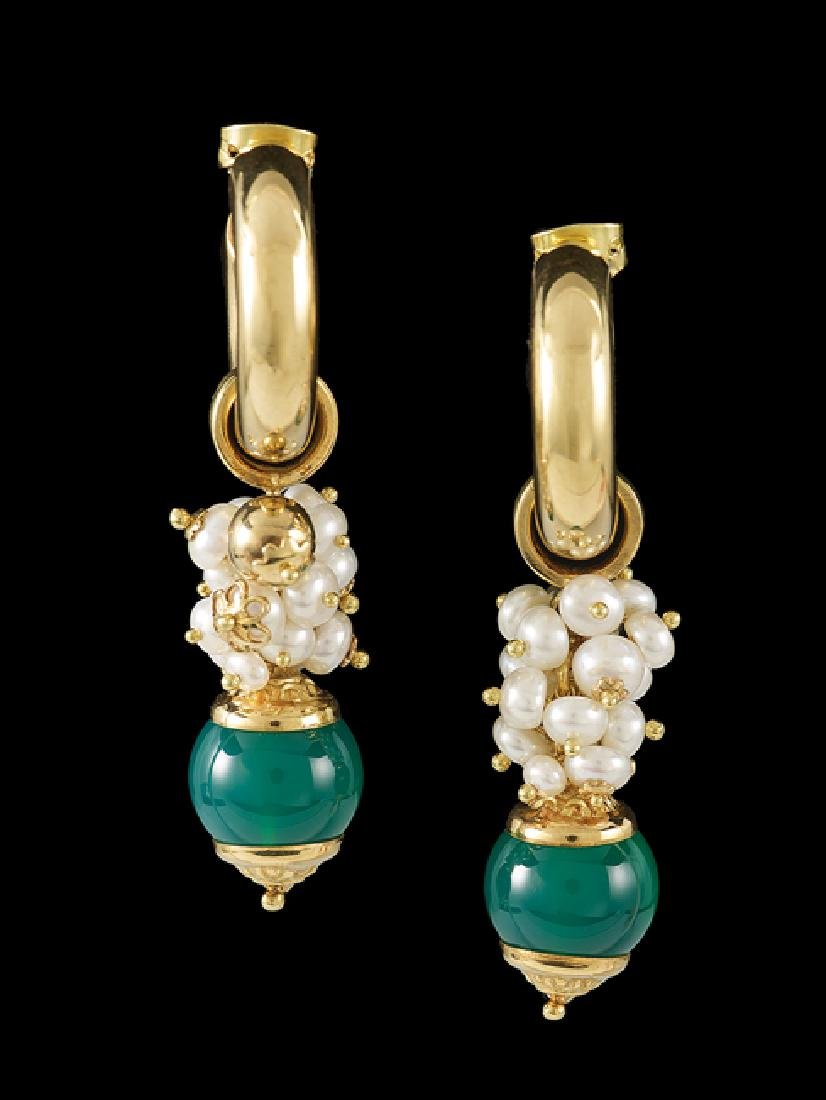 Pair of 18 Kt. Gold, Jade and Pearl Earrings