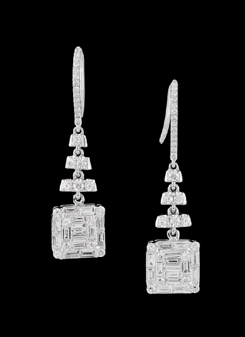 Pair of 18 Kt. Gold and Diamond Earrings