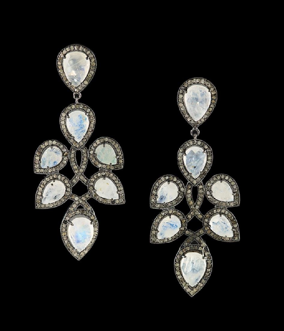 Pair of Silver, Moonstone and Diamond Earrings