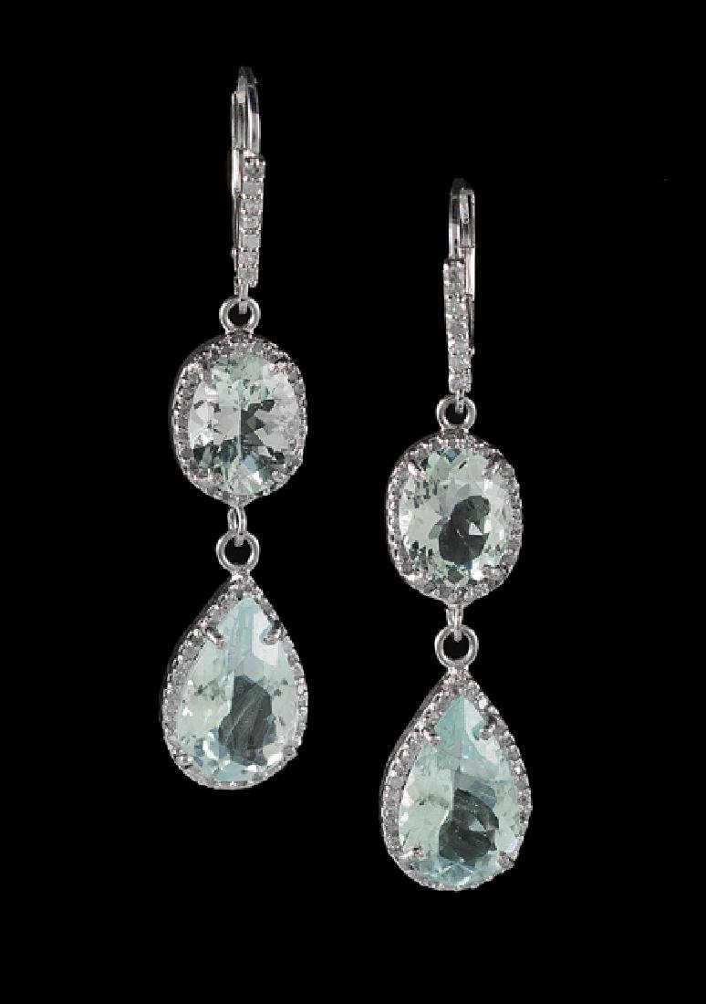 Pair of Silver, Aquamarine and Diamond Earrings