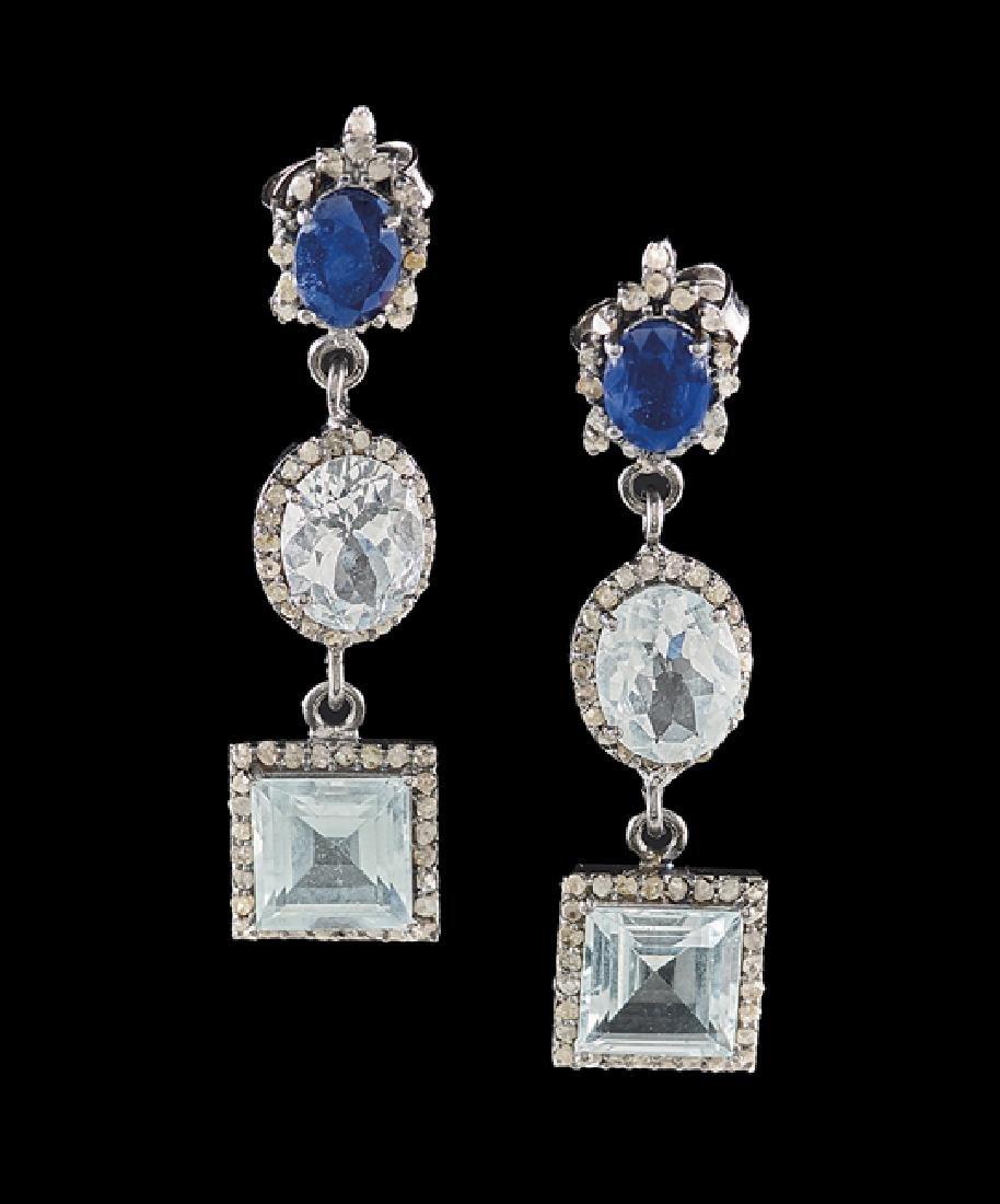 Pair of Silver, Aquamarine & Sapphire Earrings