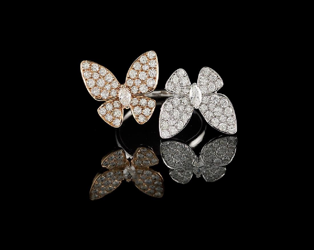 18 Kt. Gold and Diamond Butterfly Ring