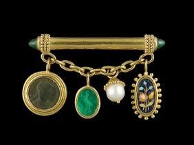 Elizabeth Locke 18 Kt. Gold Brooch with Charms