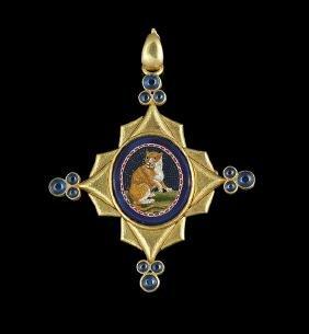Elizabeth Locke 18 Kt. Gold Micro-Mosaic Brooch