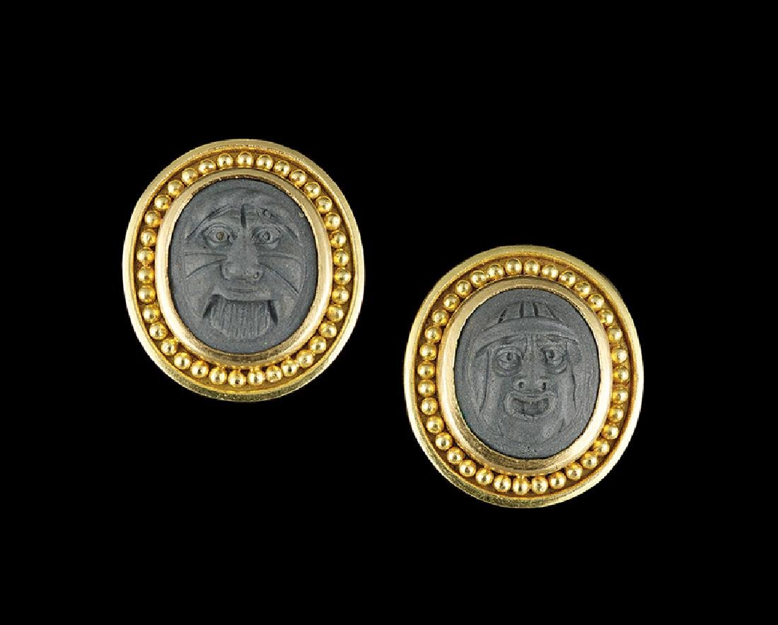 Pair of Elizabeth Locke Lava Cameo Earrings