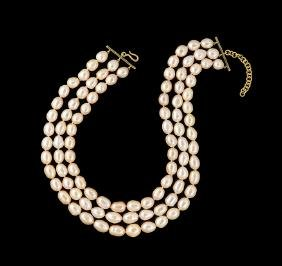 18 Kt. Gold & Multi-Strand Baroque Pearl Necklace