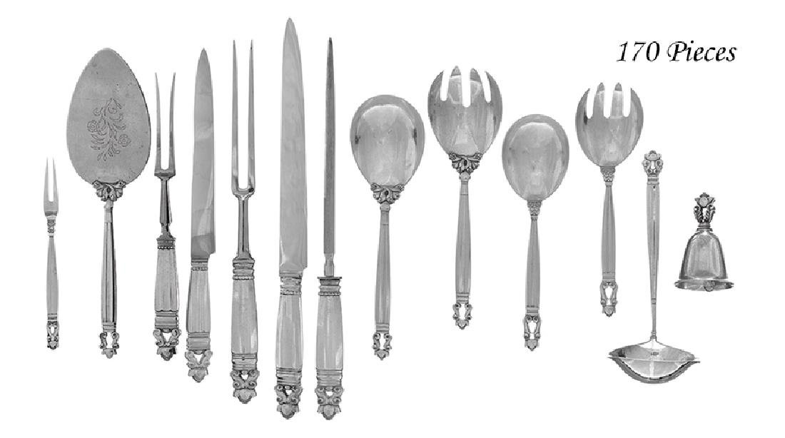 "170 Pcs. of Jensen ""Acorn"" Sterling Flatware"