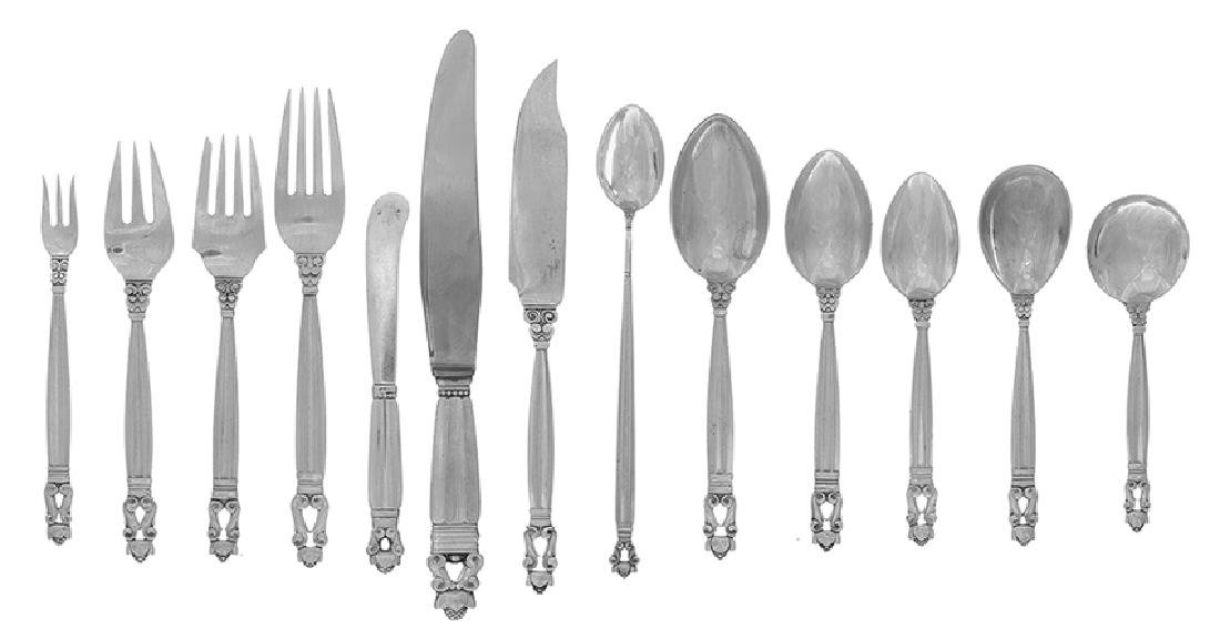 "170 Pcs. of Jensen ""Acorn"" Sterling Flatware - 2"
