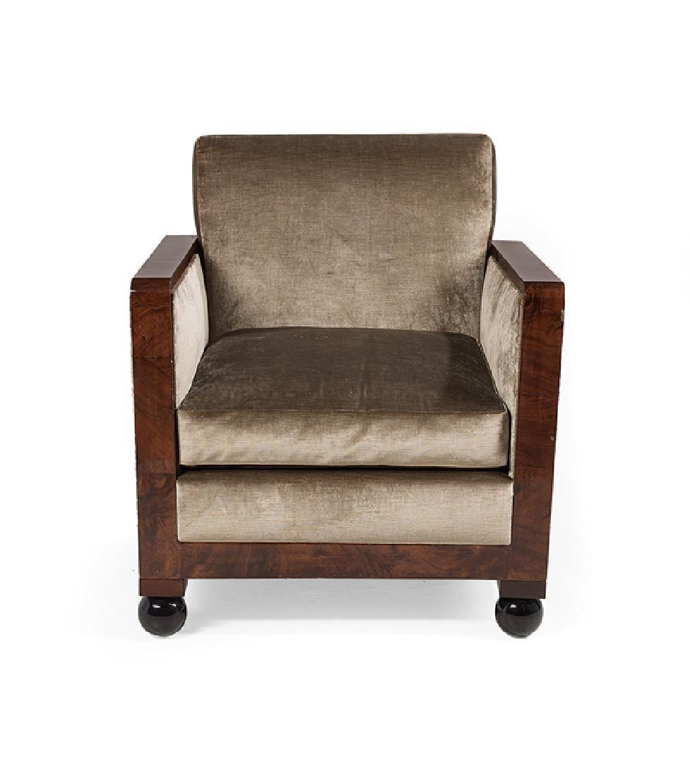 Art Deco-Style Burlwood Armchair