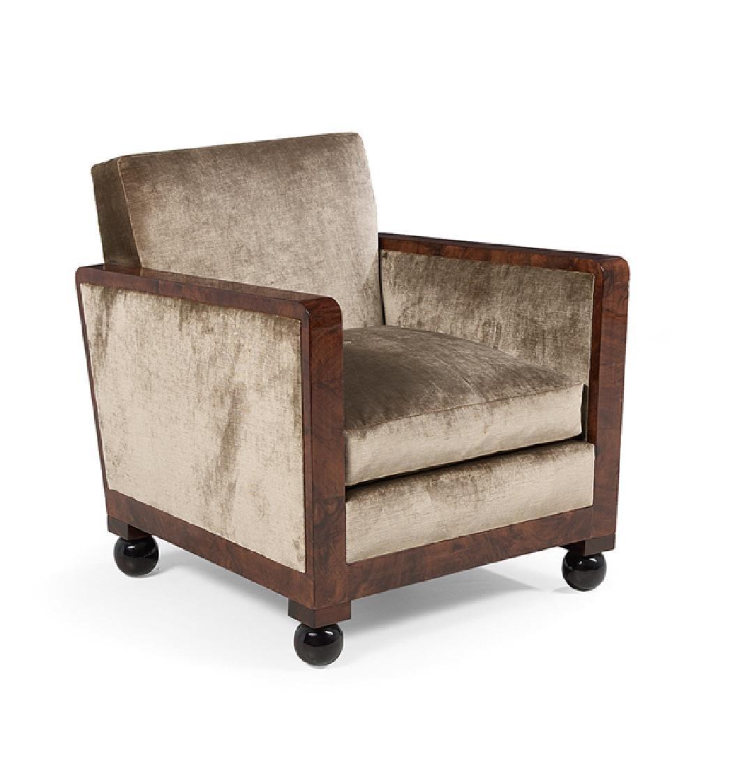 Art Deco-Style Burlwood Armchair - 2