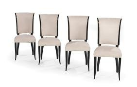 Four French Art Deco-Style Ebonized Dining Chairs