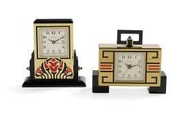 Two Cartier Brass and Enamel Boudoir Clocks