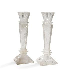 Pair of Continental Rock Crystal Candlesticks