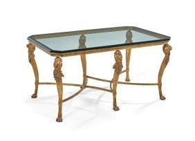 Gilt-Metal and Plate Glass Cocktail Table
