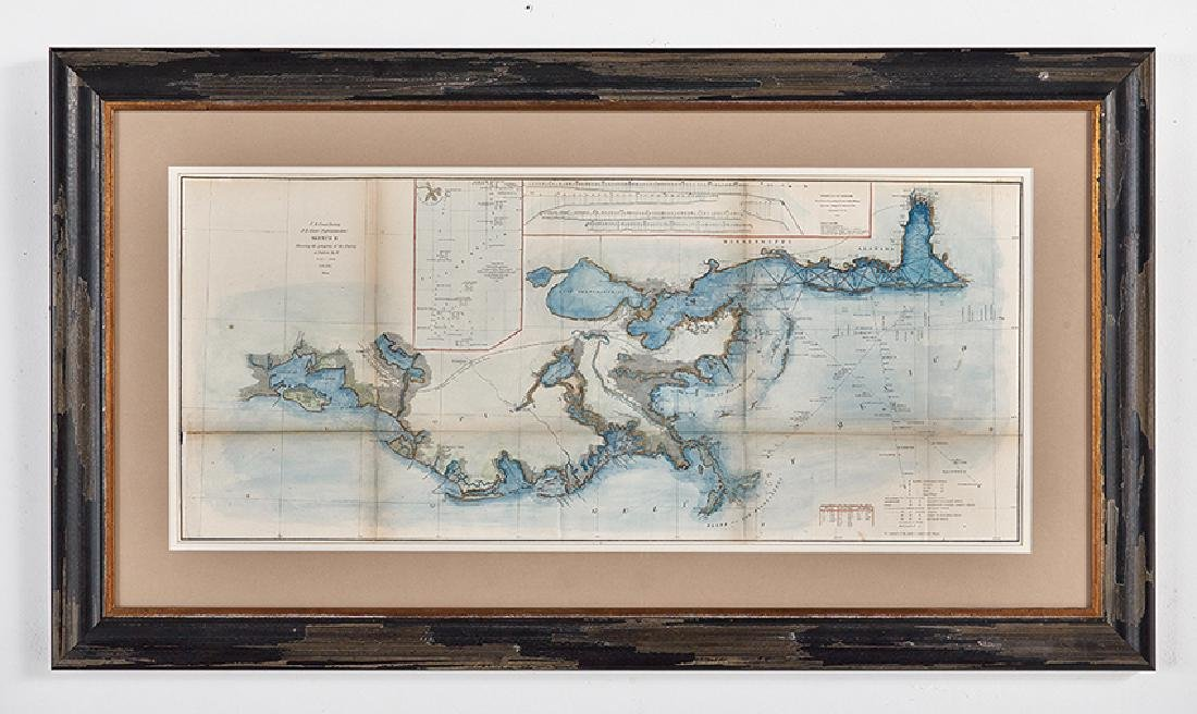 Hand-Colored Lithograph Map of the Gulf of Mexico