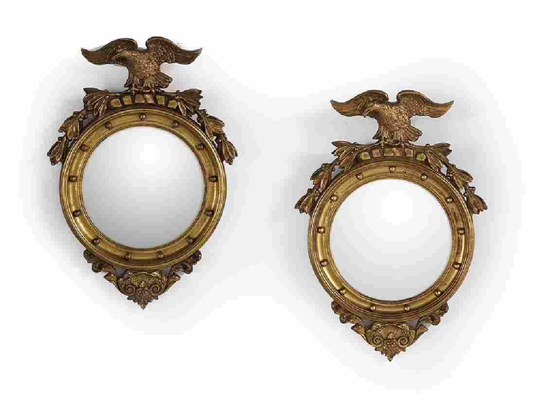 Pair of Colonial Revival Giltwood Convex Mirrors