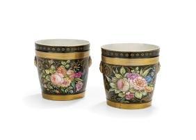 Pair of Paris Porcelain Hand-Painted Cachepots