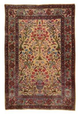 Nineteenth-Century Persian Kashan Silk Prayer Rug