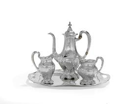 Gorham Martele .958 Silver Coffee Set and Tray