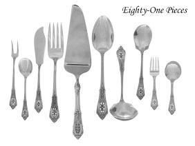"""81 Pcs. of Wallace """"Rose Point"""" Silver Flatware"""