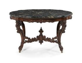 American Rosewood and Marble-Top Center Table