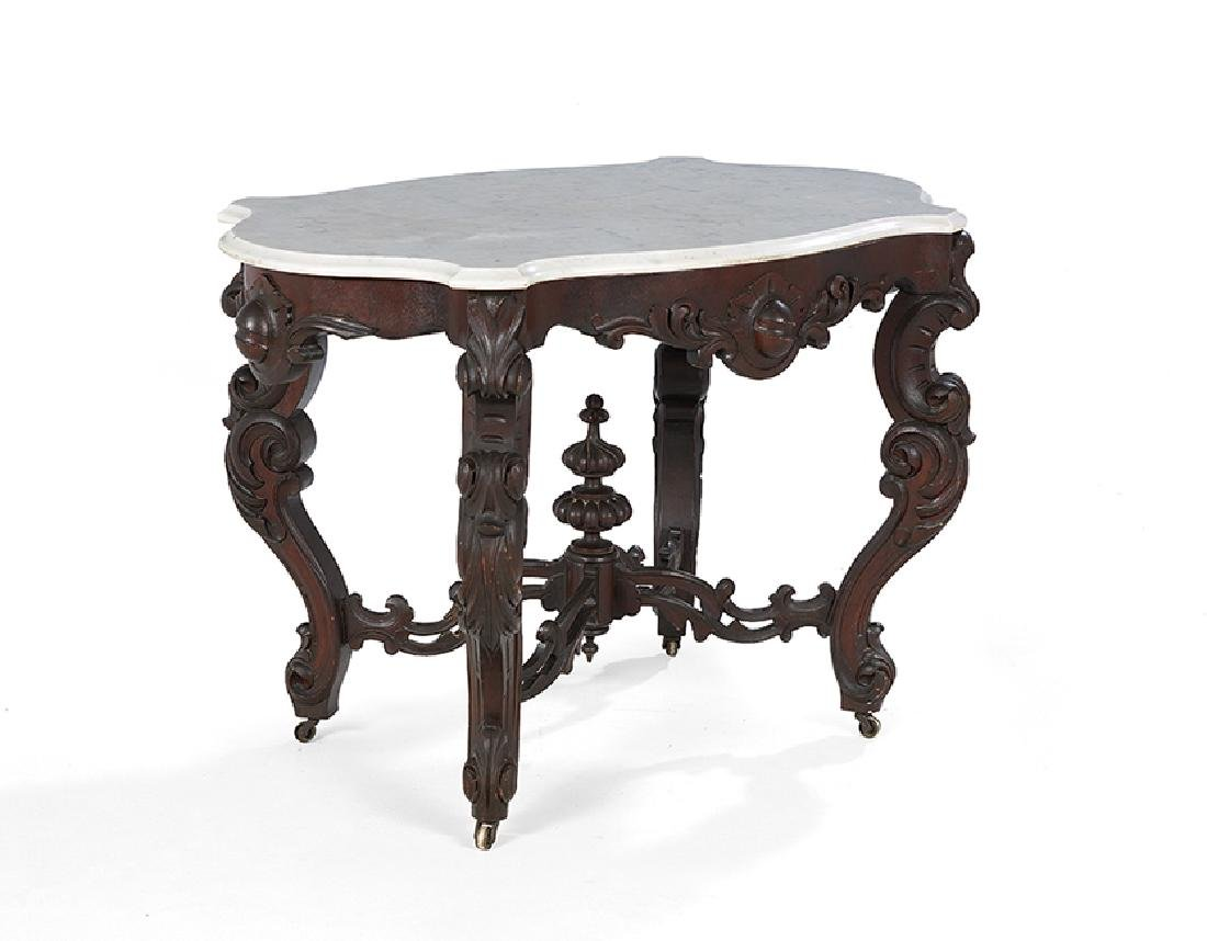 American Rococo Revival Marble-Top Center Table - 2