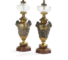 Pair of Marble, Bronze and Glass Banquet Lamps