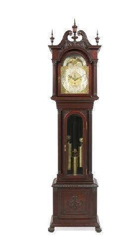 Colonial Revival Mahogany Tall Case Clock