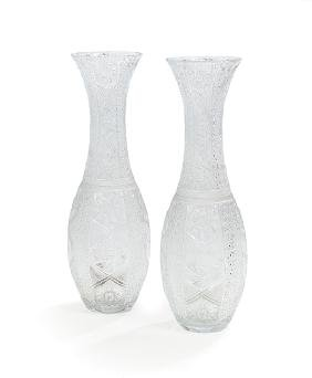 Pair of Monumental Cut Glass Vases
