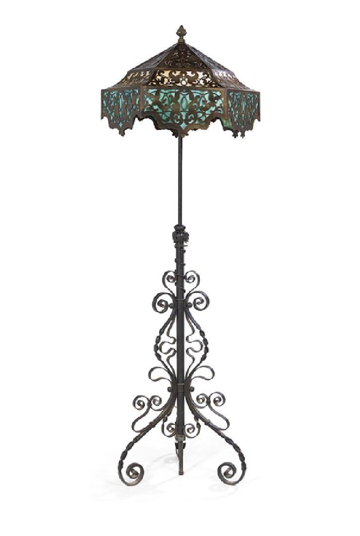 Iron and Brass Overlay Slag Glass Floor Lamp
